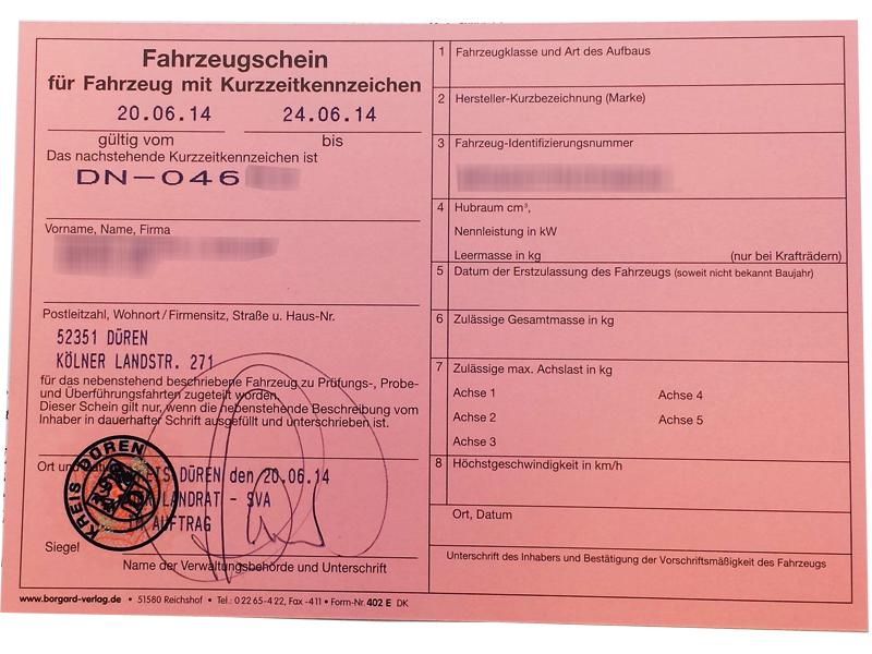 Fahrzeugschein Kurzzeitkennzeichen
